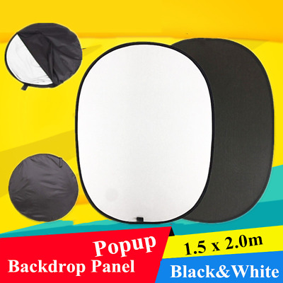 Pop Up Backdrop Photo Studio Background Screen Black&White 200 x 150cm UK Stock