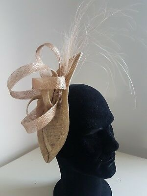 Gold Sinamay Fascinator For Royal Ascot, Kentucky Derby, Weddings, Church,  Tea
