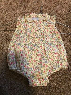 Girls Romper Shortall Outfit Bella Bliss Flowered 3 months Ruffled Pink Blue Gre