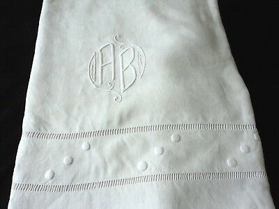 Vintage Antique French Pure Flax Linen Bed sheet embroidery monogram organic