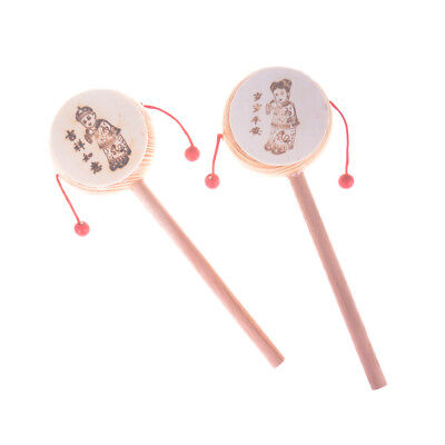 Funny Wooden Rattle Drum Cartoon Musical Instrument Toy for Child Kids Gift  X