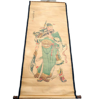 Chinese Hanging Draw Hand-Painted The Warrior GuanYu Calligraphy Scroll Painting