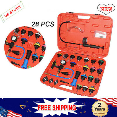 28pc Auto Cooling Radiator Pressure Tester Vacuum Purge Refill Kit+ Adapters