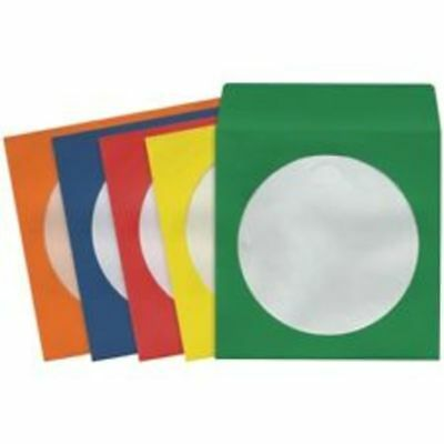 NEW Assorted Colors Paper DVD CD Sleeves Cases 100Ct Slim Storage Fits 12cm Disc