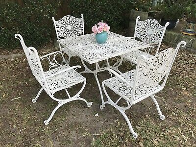 Vintage French Louis Style Outdoor Dining Suite~Chairs~Cast Metal Lace~Patio