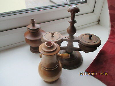 3 ANTIQUE ENGLISH TREEN  BOXWOOD SALT GRINDER,  CONDIMENT SET &  SHAKER   1890s