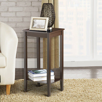 Tall Wood End Table Sofa Side Coffee Table Nightstand With Lower