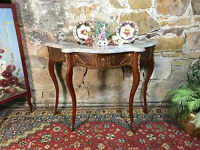 Superb Antique French Louis Style Marble Side/Hall Table~Console~Serpentine~Chic