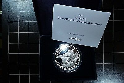 2005 Concorde 216 Aviation Rare 5 oz Silver Proof 65mm Medal Coin Commemorative