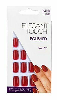 Elegant Touch Polished Nails Nancy Red Ovale Faux Ongles 24 Pièces