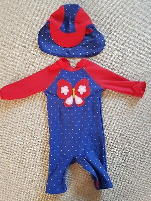 baby girl all in one swimsuit and hat John lewis 12-18 months SPF 40+