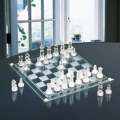 Deluxe Glass Chess Game Set Board Game Drafts Nerd Kids Holiday House Farm NEW