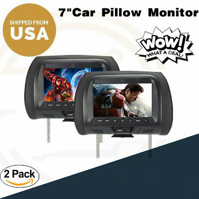 "7"" Black Pair (2) LCD Car Headrest TV Monitor w/ IR Transmitter US SELLER New"