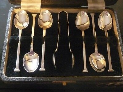 Antique Set Of 6 Solid Silver Spoons And Tongs Andolf/scott Ltd