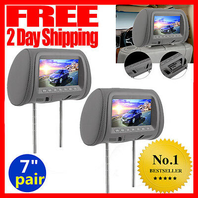 "2X 7"" HD Digital LCD Screen Car Pillow Headrest Monitor USB/SD MP5 Player Grey"