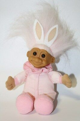 Vintage Russ Pink Easter Bunny Ears Troll Doll with Soft Body (Item 2311)