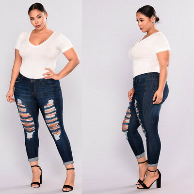 Women Plus Size Denim Skinny Jeans Pants Ripped Stretch Fit High Waist Trousers