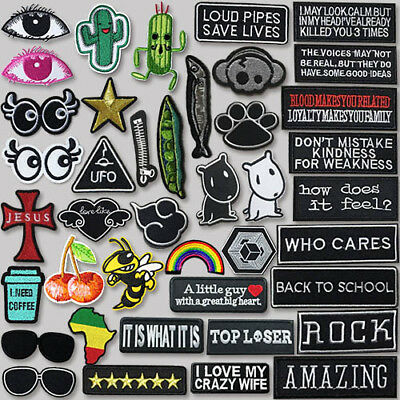 NEW Embroidered Iron On Patch Badges Bags Hat Jeans Dress Fabric Applique