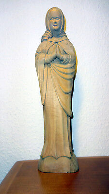 Antique Vintage wooden praying Virgin Mary Our Lady Madonna hand carved statue