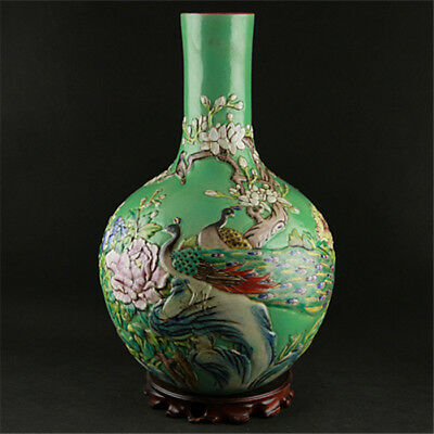 Old China Porcelain Qing Qianlong Emboss Pastel Flower Bird Spherical Vase