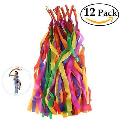 BESTORARD 12Pcs 100CM Cute Colored Hand Held Dance Rainbow Ribbon Toys kids fun