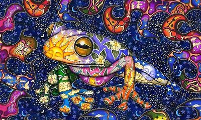 Psychedelic Frog Sun & Moon Cute Art Sticker or Magnet