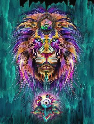 Psychedelic Lion American Indian Gorgeous Art Sticker or Magnet