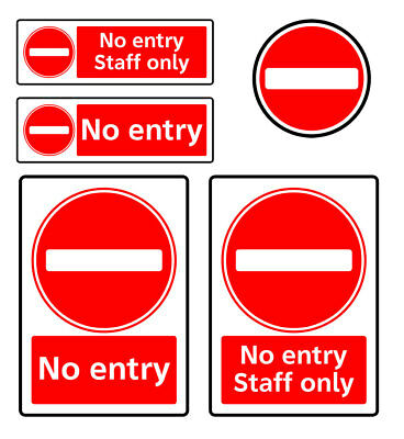 No Entry Sign Staff Only Sticker Adhesive Vinyl