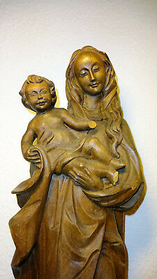 Antique Vintage wooden Virgin Mary Our Lady Madonna & Jesus hand carved statue