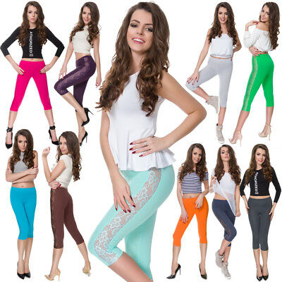 Womens 3/4 Leggings Lace On Side Cotton Cropped Colorful Pants Size 8-22 LPL34
