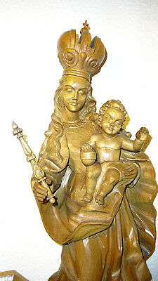 Antique Vintage hand carved wooden Our Lady Mary Madonna Bavariae & Jesus statue
