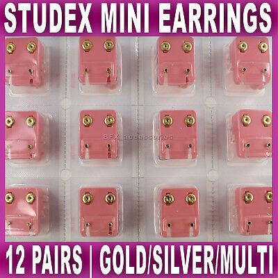 12 PAIRS MINI STUDEX EAR STUDS PIERCING GOLD SILVER PLATED BIRTHSTONE earrings
