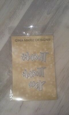 Thank you Thanks Brush script words Gina Marie designs metal cutting dies