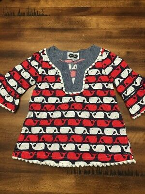 Girls Mudpie tunic Dress 9-12 Months Nautical Whale Print