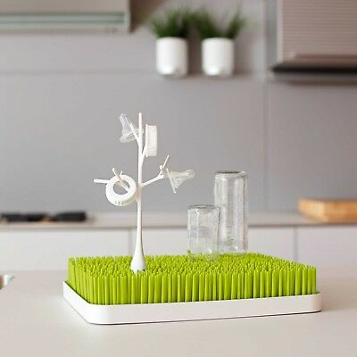 Boon Lawn Countertop Baby Bottle Drying Rack in Green 13.5x11x2.5 Inches