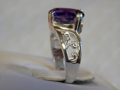 NATURAL 4ct purple amethyst 925 sterling silver filigree ring size 6.5 USA