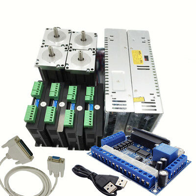 4pcs NEMA23 Stepper Motor Drive & Switch Power + Breakout Board for CNC 4 Axis