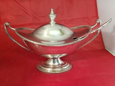 a beautiful antique silver plated soup dish by psl of sheffield.rare.
