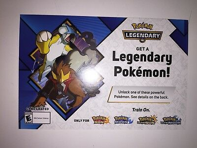 Target EXCLUSIVE Raikou & Entei 2018 Pokemon Event Code Sun/Moon & US, UM