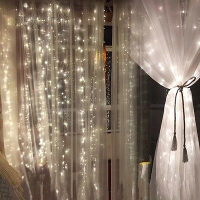 2X 1.1 m Curtain light in/outdoor 24V White LED  with transformer and Plug