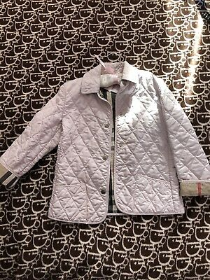 Authentic Burberry Pale Pink Baby Girl Quilted Nova Check Jacket 8Y