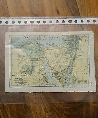 Egypt : The Sinai Peninsular and The Promised Land Historical Biblical Bible Map