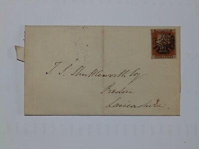 (C53) 1844 Id IMPERF ENTIRE WITH BLACK MALTESE CROSS CANCEL TO PRESTON