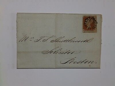 (C54) 1844 Id IMPERF ENTIRE WITH BLACK MALTESE CROSS CANCEL TO PRESTON