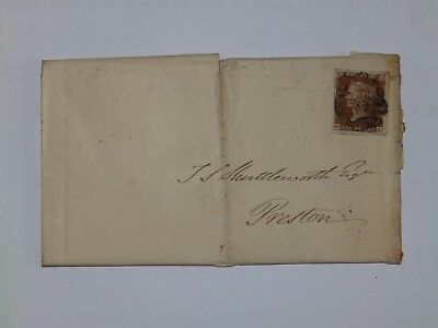 (C52) 1844 Id IMPERF ENTIRE WITH BLACK MALTESE CROSS CANCEL TO PRESTON