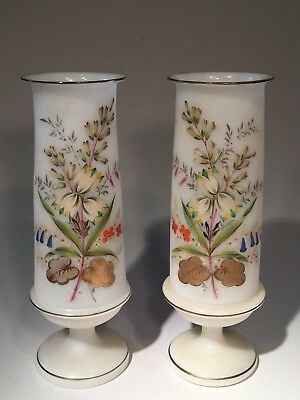 Beautiful Matched Pair of 1880s Bristol Glass Mantle Vases