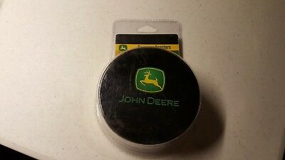 John Deere Coasters In Tin Storage Container Never Used Set of 6