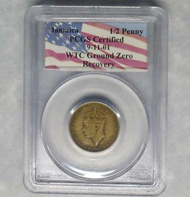 1947 Jamaica 1/2 Penny PCGS WTC World Trade Center Ground Zero Recovery