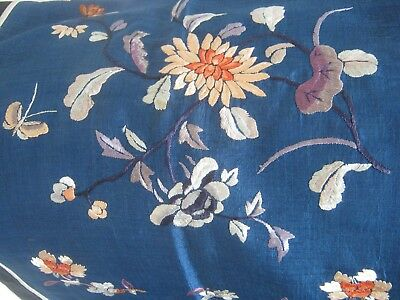 "Antique Original Oriental Floral Embroidery On Silk Panel Cover 45""/114 Cms Long"