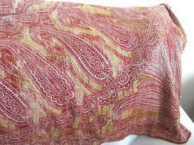 "1860 ANTIQUE VICTORIAN RED AND GOLD PAISLEY WOOL SHAWL 67""/170 cms x 63""/160 cms"